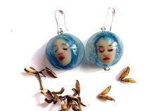 Sky blue witch earrings Mini dolls Funky earrings Cool