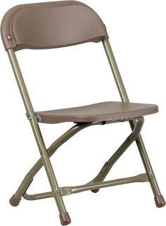 Flash Furniture Y-KID-BN-GG Kids Brown Plastic Folding Chair