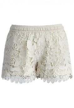 Wavy Crochet Shorts in Ivory
