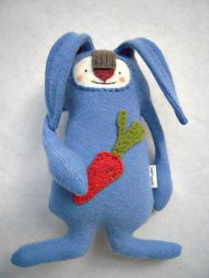 Cashmere Easter Bunny Stuffed Animal Upcycled by sweetpoppycat, $30.00