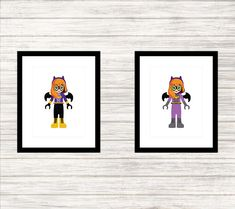 Batgirl 1 and 2 - Superhero Lego Minidoll - Child or Adult - Wall Art - Printable Poster - Instant Download