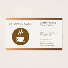 Cafeteria Modern Professional Elegant Coffee Shop Business Card - trendy gifts cool gift ideas customize