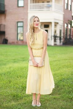 Yellow Pleated Dress | A Daydream Love