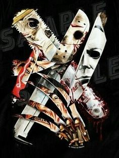 Blades Of Slasher. Or Cut throat crew. Horror Movie Tattoos, Horror Movie Characters, Classic Horror Movies, Iconic Movies, Slasher Movies, Horror Artwork, Horror Pictures, Horror Icons, Arte Horror