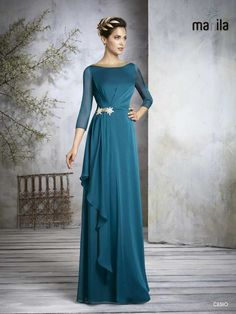 Vestido azulon Dressy Dresses, Elegant Dresses, Vintage Dresses, Prom Dresses, Mom Dress, Dream Dress, Vestidos Marisa, Hijab Dress Party, Simple Bridesmaid Dresses