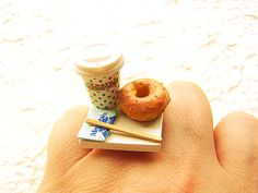 Kawaii Cute Japanese Ring Coffee And A Donut by SouZouCreations, $12.50