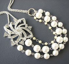 Vintage Bridal Jewelry Pearl Statement Necklace Rhinestone Wedding Jewelry Bridal Necklace Triple Strand Bridesmaid Gift Set Maid of Honor on Etsy, $49.00
