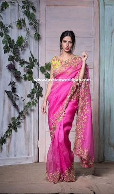 : Stunning pink color saree and green color blouse. Both saree and blouse with hand embroidery thread work. They can customize the colour size as per your requirement. Buy Designer Sarees Online, Designer Silk Sarees, Latest Designer Sarees, Art Silk Sarees, Indian Designer Wear, Cutwork Saree, Organza Saree, Chiffon Saree, Mirror Work Saree