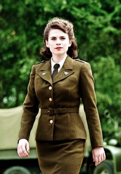 Peggy Carter. During WWII skirts were often form fitting and a certain length due to rationings so that more fabric could used for the men and women over seas fighting
