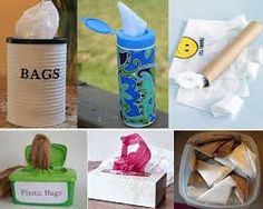 Storing plastic grocery bags