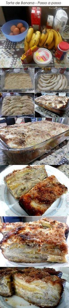 Aprenda a fazer essa receita simples e prática de torta de banana, que é feita com aquela massa esfarelada feita com mistura de farinha de trigo, manteiga e açúcar. É simples de fazer e o resultado fica uma delícia!