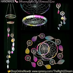 """Ready4Shipment!  Size: 5""""x 37""""  ItemCode: 5S3OLK-54-1  Details: hanging decor, 5"""",3""""+(8)1.5"""" dream catchers, silver tone fixings, crystal clear beads, feathers  Materials: metal, cotton, alloy, acrylic 