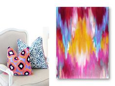 Ikat-Inspired Abstract Original Painting on Stretched Canvas 24 x 36 Ready to Hang via Etsy
