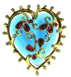 Vintage-1952-TRIFARI-Philippe-Lucite-Rhinestone-CAGED-HEART-Figural-Brooch-Pin