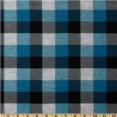 Cotton Blend Jersey Knit Plaid Turquoise/Black
