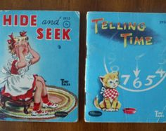 2 Vintage Tiny Tales Book - Hide and Seek & Telling Time