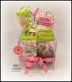 Treat box filled with lots of packaging from Annie's Paper Boutique and accented with Raspberry Cupcake Trendy Twine.