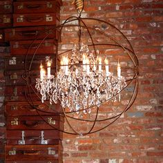 Speakeasy light fixture-Iron Crystal Chandelier made with rusted iron and cut glass crystals.