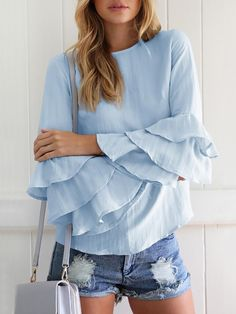 Women Ruffles Flare Sleeve Casual Blouse