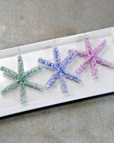 Holiday ornaments kids can make. Pipe cleaners dipped in borax solution overnight.