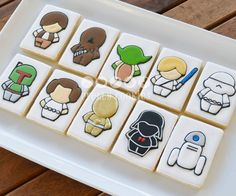So who is excited for the new movie? These cookies were made a few weeks ago for a Star Wars theme gift basket. The gift basket was raffled off at my husband's work. Not sure who the original artist is but saw this cute design on fabric. Star Wars Cookies, Star Wars Cake, Star Wars Gifts, Star Wars Party, Cookies For Kids, Cute Cookies, Cookie Frosting, Royal Icing Cookies, Iced Cookies