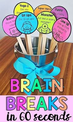 Brain Breaks in 60 Seconds- Classroom Management - Brain Breaks in less than 60 seconds. These brain breaks can act as a great, little addition to your - Kindergarten Classroom Decor, Classroom Routines, Classroom Behavior, Future Classroom, Classroom Themes, Classroom Activities, Classroom Organization, Brain Breaks For Kindergarten, Preschool Classroom Management