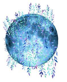 SHOP DESIGN WATERCOLOR LUNA - Clip Art Arte para imprimir Arte para pared por abretusalaslove ABRE TUS ALAS BY MARIA JORGELINA GARRO