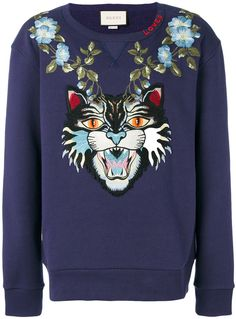 Gucci Angry Cat And Floral Appliqué Sweatshirt - Farfetch cdff2b5f32f