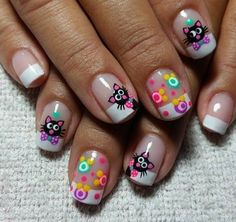 Nail idea for Aria Gorgeous Nails, Love Nails, Pretty Nails, Cat Nail Art, Cat Nails, Ruby Nails, Cruise Nails, Nail Art Printer, French Tip Nails