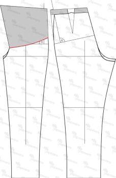 Spodnie ciążowe - konstrukcja, maternity pants - patternmaking