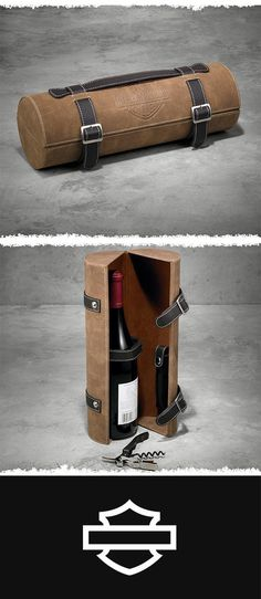 Form and function blend in the beautifully. | Harley-Davidson Leather Wine & Accessory Case