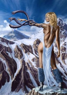 Snow witch by SBraithwaite Fantasy Art Village Social Network for Fantasy, Pinup, and Erotic Art Lovers! Fantasy Warrior, Fantasy Girl, Fantasy Art Women, Dark Fantasy Art, Fantasy Artwork, Art Village, Boris Vallejo, Rare Comic Books, Sword And Sorcery