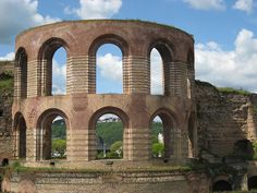 Ruins of three Roman baths in Trier, Germany. Among them the largest Roman baths north of the Alps. Roman Architecture, Waterworks, My Heritage, Ancient Rome, Abandoned Houses, Roman Empire, Brick Wall, Alps, Germany