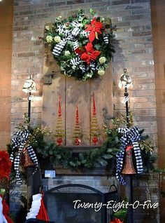 Love Red, White & Black Christmas Mantel!