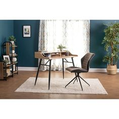 Shop Calico Designs Gladstone Two-Tone Swivel Armless, Home Office Accent Chair in Black Metal 4-Star Base/Brown and Blk Faux Leather - Free Shipping Today - Overstock - 29630135