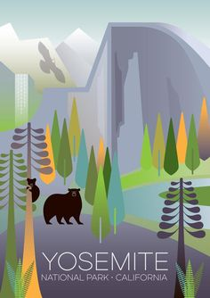 Borderless graphic digitally printed in the USA on matte cardstock and suitable for framing or displaying as is. Please allow two weeks for delivery. California National Parks, National Parks Usa, Yosemite National Park, California Travel, Party Vintage, Pub Vintage, Vintage Kitchen, National Park Posters, Affinity Designer