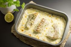 Saithe (fish) backed in cream parmesan sauce. Delicious!