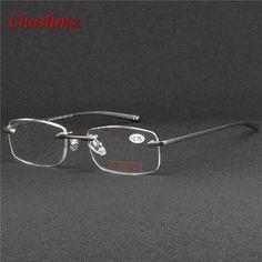 2017 Aluminum Magnesium Rimless Eyeglasses Men and women Reading Presbyopic glasses Magnifying glasses Oculos de grau