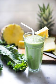 Matcha Pineapple Smoothie with Kale- An instant mood lifter and energizing drink full of healthy antioxidants!   www.feastingathome.com