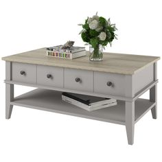 Features:  -Combination of open and closed storage.  -Profiled edges.  -One center drawer with metal drawer glides.  Top Finish: -Oak.  Top Material: -Manufactured Wood.  Base Material: -Manufactured
