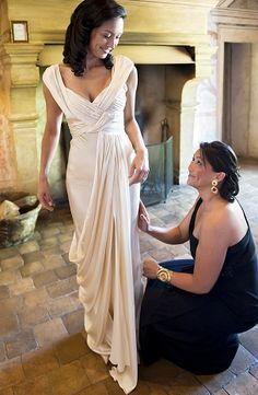 Wedding Dresses: Glamorous yet simple Cream Wedding Dress