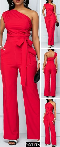 One Shoulder Zipper Closure Rose Red Jumpsuit When you have a night event and you don't know what to wear this Rose Red Jumpsuit is going to save your life. Classy Outfits, Chic Outfits, Fashion Outfits, Red Jumpsuit, Jumpsuit Pattern, African Fashion Dresses, Overall, Mode Outfits, Jumpsuits For Women