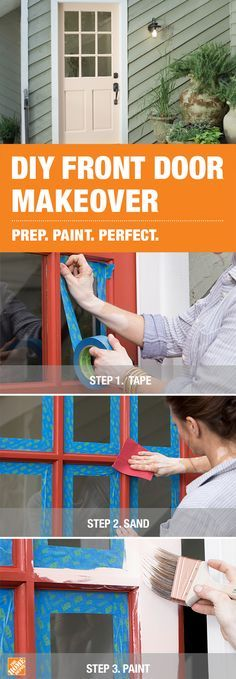 To create this gorgeous blush front door, first prep the surface with 3M sandpaper and ScotchBlue painter's tape. Using Wooster Pro brushes in a variety of sizes, next apply BEHR Marquee paint in Pink Elephant. Click to discover more ways to prep and paint your home perfectly.