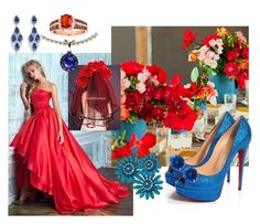"""Red Aqua Wedding"" by ruaorlia13 on Polyvore featuring Christian Louboutin, LE VIAN, Color My Life and CZ by Kenneth Jay Lane"