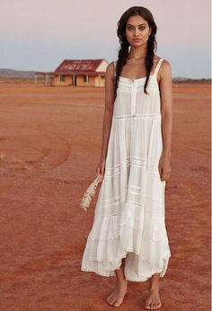 Prairie Lace Sun Dress - White