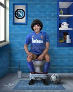 Diego Armando Maradona (born 30 October is an Argentine retired professional footballer. He has served as a manager and coach at other clubs as well. Toilet Art, Diego Armando, Portraits, People Sitting, Photo Dump, Quote Posters, Football Players, Famous People, Mens Tops