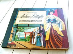 Vintage Madame Butterfly Record Cover Art Upcycle Project Puccini Illustration Scrapbooking by lookonmytreasures on Etsy