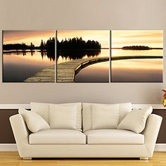 Stretched Canvas Art Sunset Waterside Set of 3 – USD $ 49.66