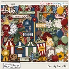 County Fair - Kit by Connie Prince. Includes: 16 patterned papers, 12 solid papers, 4 balloons (red, yellow, light gree, & blue), 2 banners, prize ribbons (1st, 2nd, 3rd, & blank), 1 bow, 3 buttons, 1 toffee / candied apple, 1 chicken badge, 1 ferris wheel (comes as rubon and as shown), 5 flowers, 1 square frame, 1 round frame, 1 tied ribbon, 1 horse badge, 2 inked spots, 4 blank labels, 1 Exhibit Hall label, 1 Lifestock Arena label, 4 labels (Food, Games, Rides, Music), 1 pig badge, 1 cow…