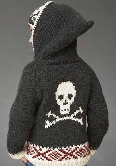 Skull Hoodie Sweater Pattern - free on Ravelry